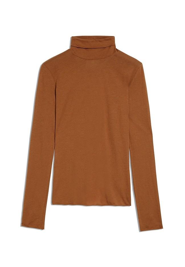 T-shirt manches longues col roulé marron en coton bio - malenaa - Armedangels num 4