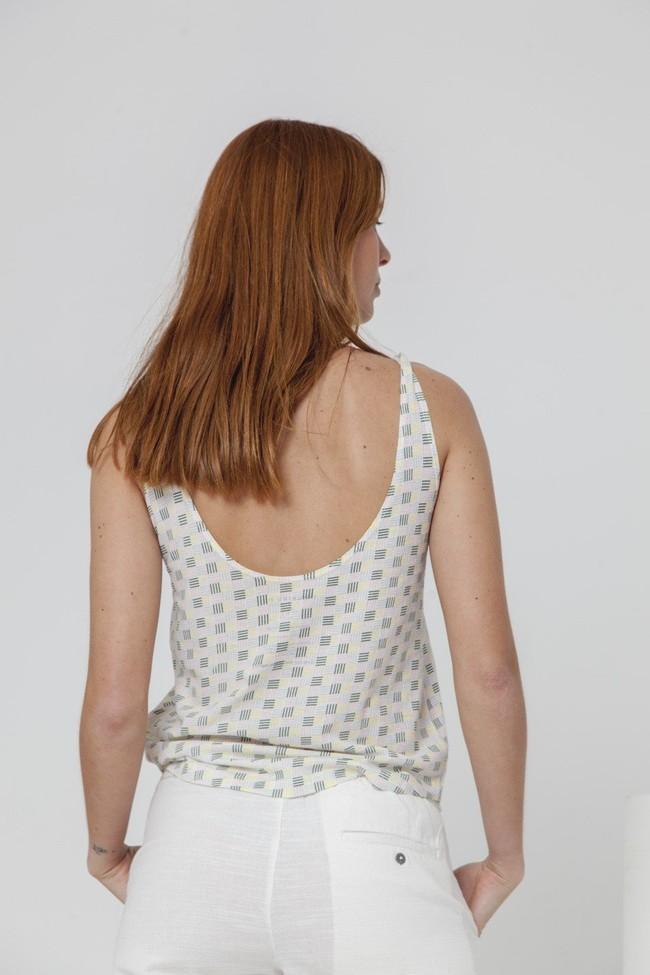 Top imprimé blanc en coton bio - toldos - Thinking Mu num 2