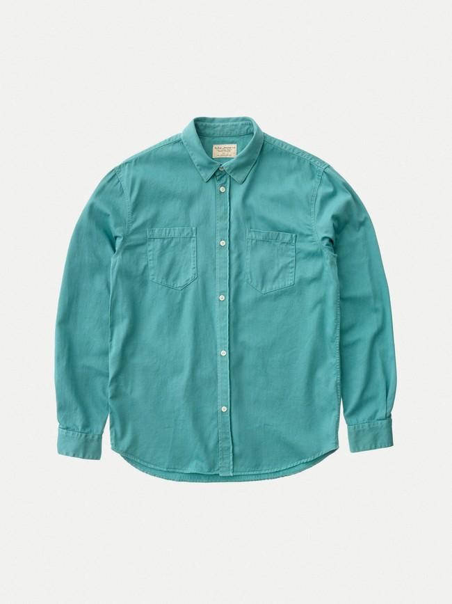 Chemise turquoise en coton bio - calle - Nudie Jeans num 3