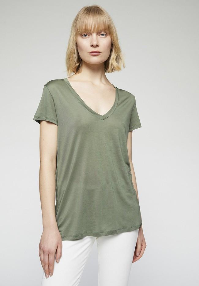 T-shirt col v kaki en tencel - juliaa - Armedangels
