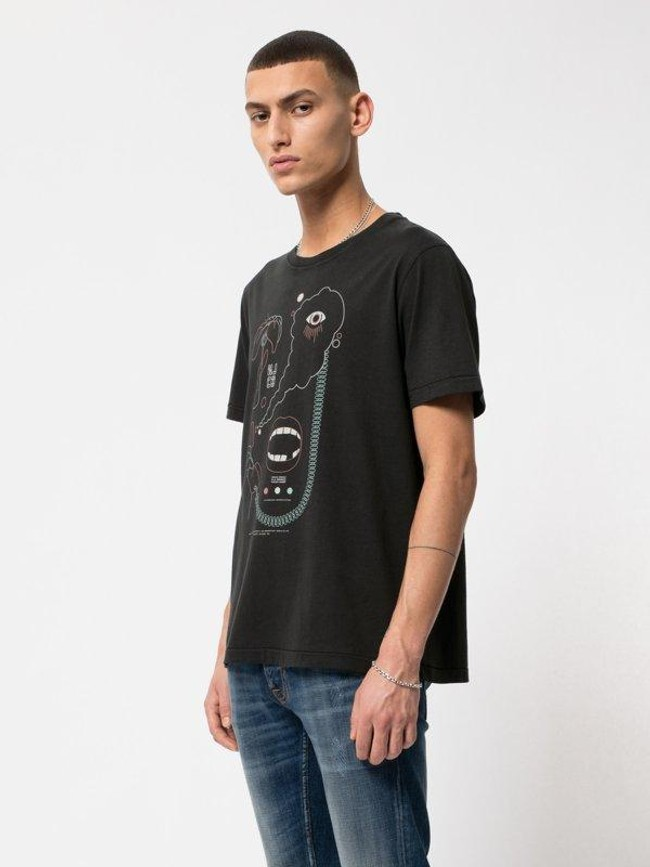 T-shirt noir imprimé en coton bio - roy smoke signals back - Nudie Jeans num 1