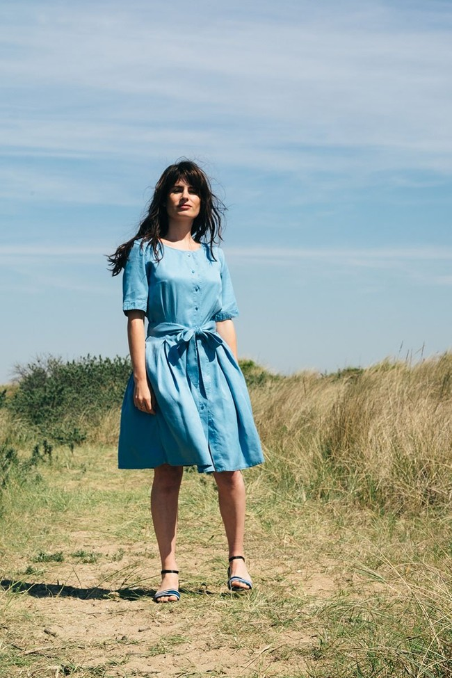 La Robe Moana en coton bio - bleu-gris - Atelier Unes