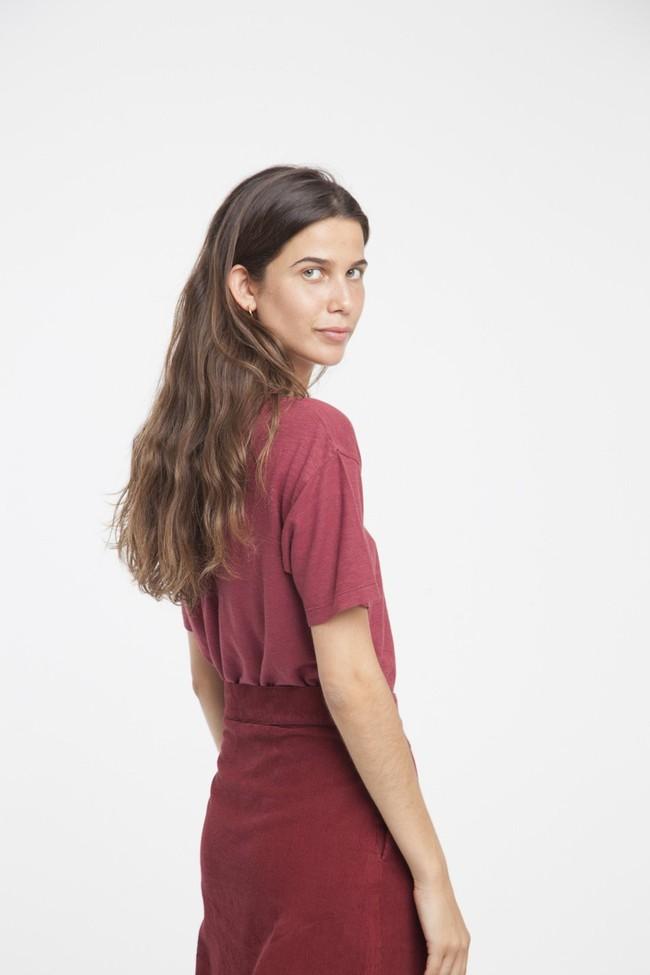 Jupe longue rouge bordeaux coton bio - Thinking Mu num 1