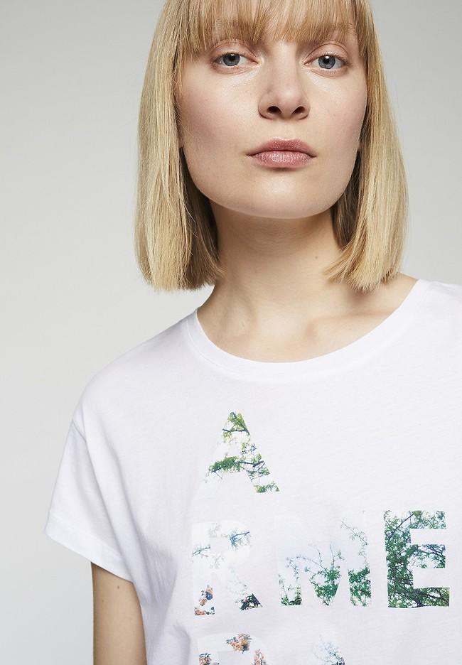 T-shirt imprimé blanc en coton bio - nelaa - Armedangels num 1