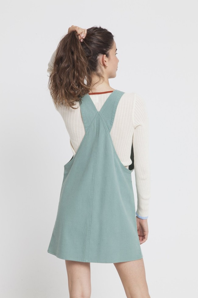 Robe unie verte en coton bio - amelie - Thinking Mu num 1