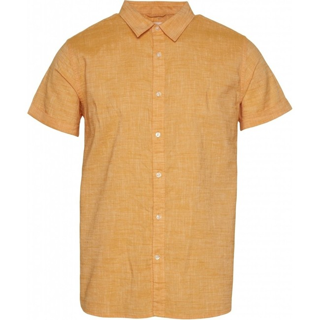 Chemise à manches courtes orange en lin et coton bio - larch - Knowledge Cotton Apparel