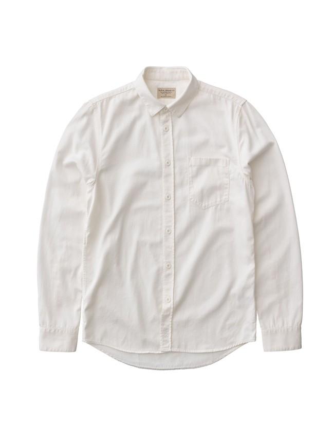Chemise blanche en coton bio - henry - Nudie Jeans num 4