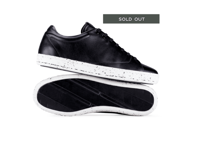 Chaussure en gravière cuir noir / semelle mouchetée - Oth