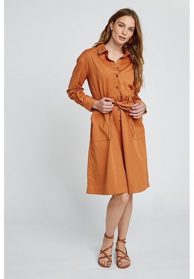 Robe longue unie camel en coton bio – penny - People Tree