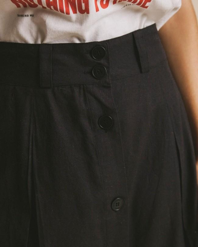 Jupe mi-longue noire en coton bio - tugela - Thinking Mu num 1