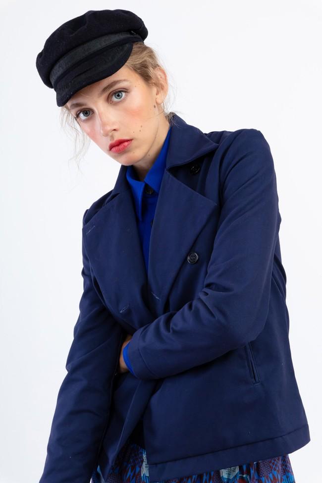 """Veste """"la redoutable"""" en coton upcyclé bleu marine - Bleu Tango num 3"""