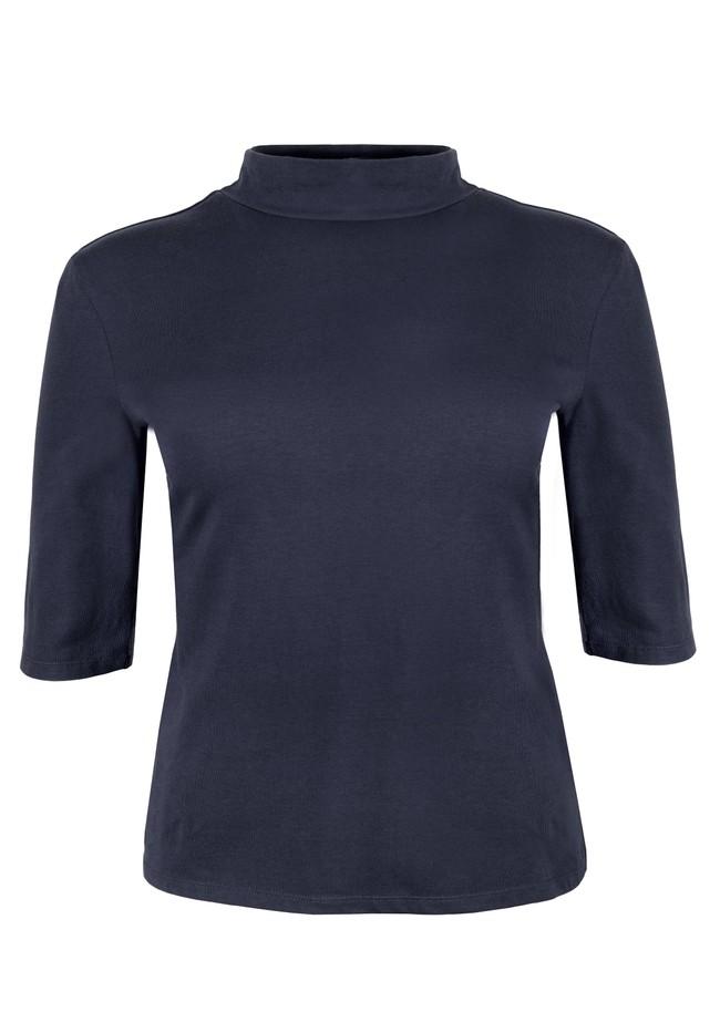 T-shirt manches 3/4 col roulé marine en coton bio - cecily - People Tree num 4