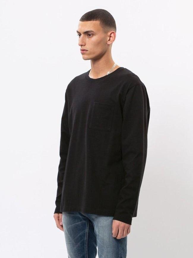 T-shirt manches longues à poche noir en coton bio - rudi - Nudie Jeans num 1