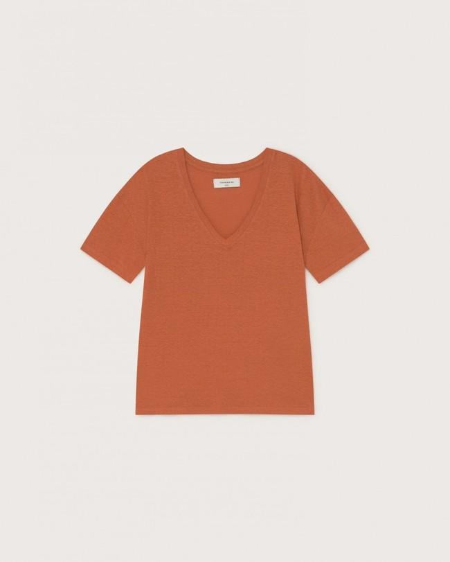 T-shirt col v terracotta en chanvre et coton bio - chloé - Thinking Mu num 4