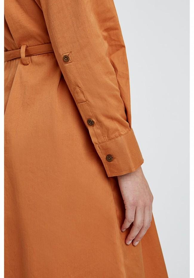 Robe longue unie camel en coton bio – penny - People Tree num 7