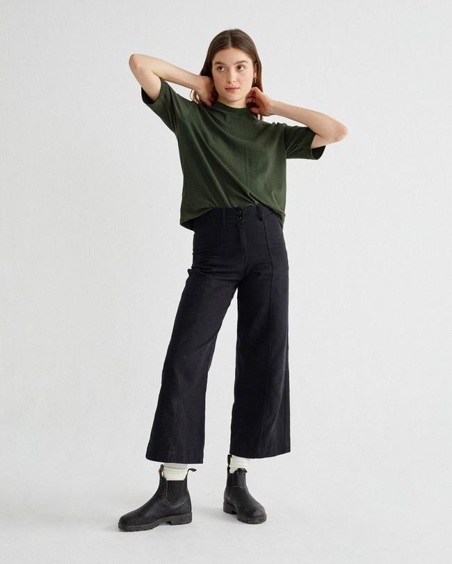 T-shirt manches 3/4 vert forêt en chanvre et coton bio - aidin - Thinking Mu num 3