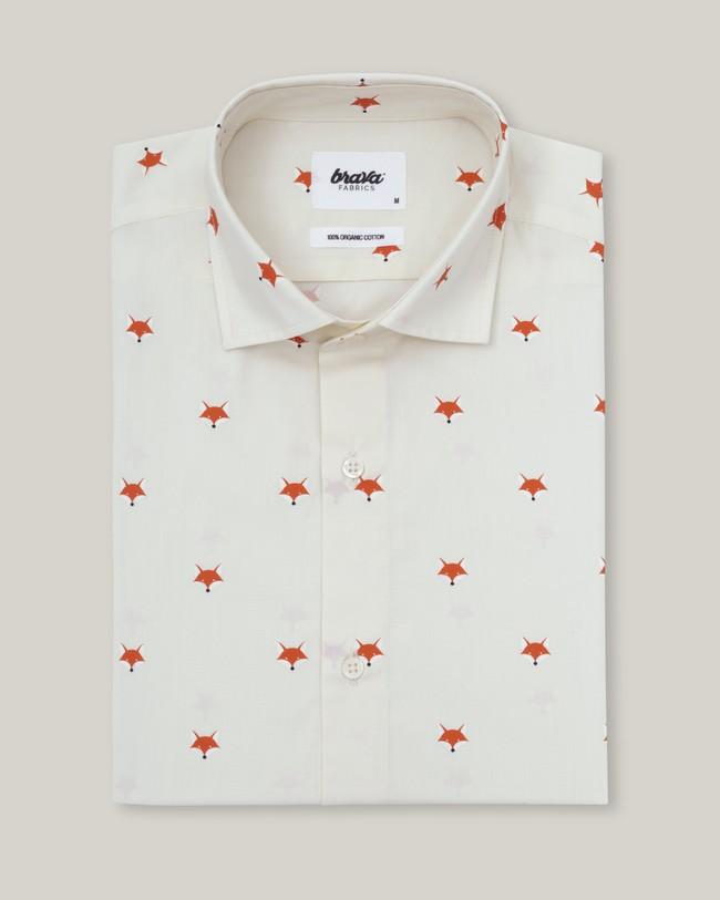 Fox in the snow white printed shirt - Brava Fabrics num 1