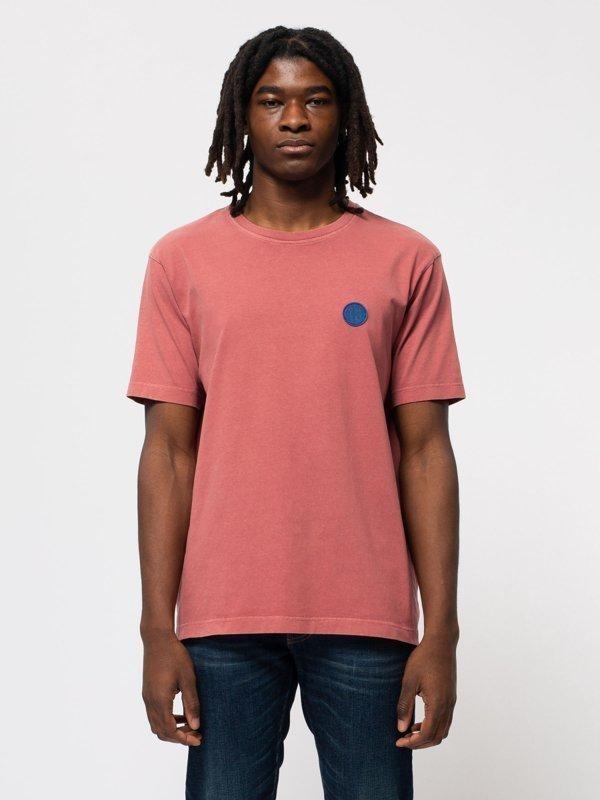 T-shirt ample corail logo bleu en coton bio - uno njco circle - Nudie Jeans
