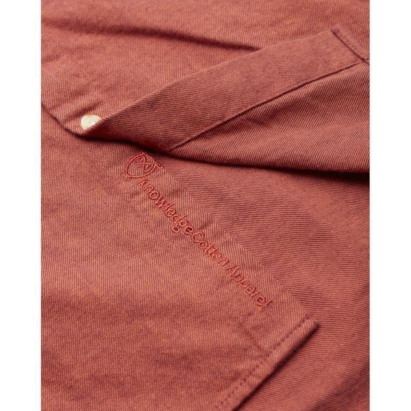 Chemise rouge en coton bio - mélange effet flanelle - Knowledge Cotton Apparel num 3