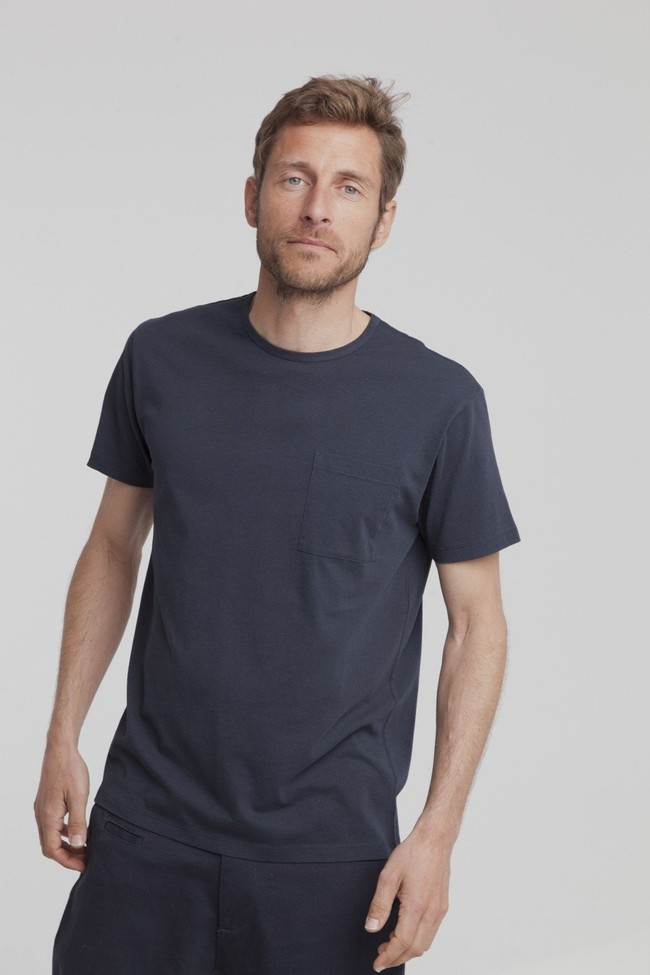 T-shirt uni marine avec poche en coton bio - Thinking Mu