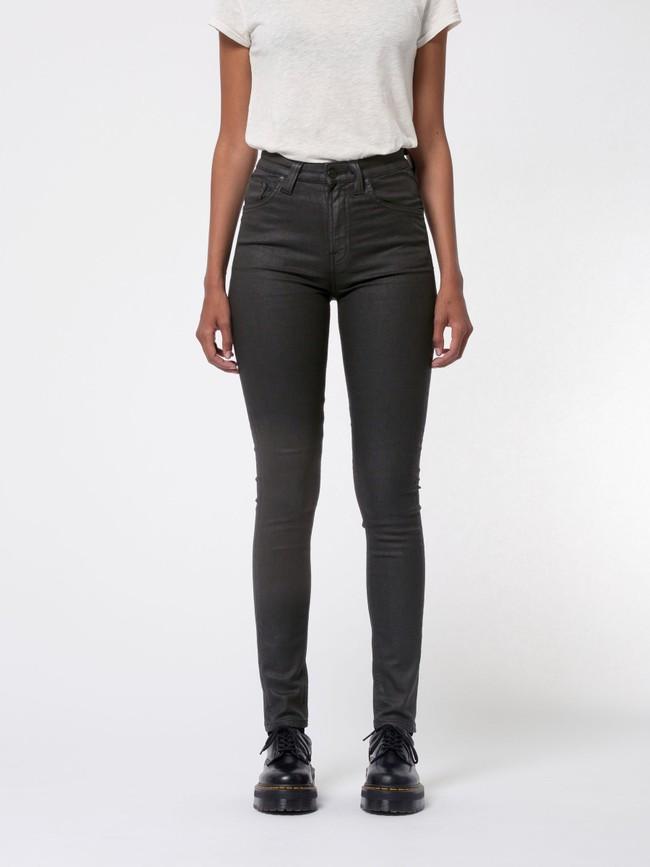 Jean skinny taille haute noir enduit en coton bio - hightop tilde painted black - Nudie Jeans