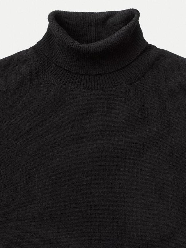 Pull col roulé noir en coton bio - cornelis - Nudie Jeans num 4