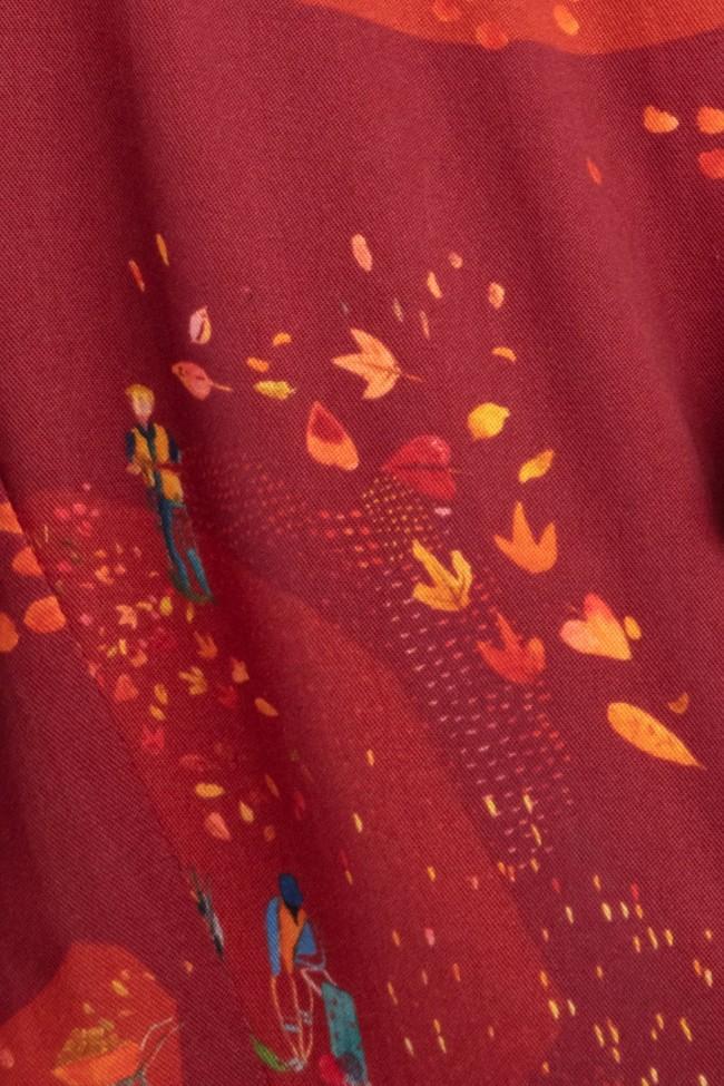"Robe ""trench"" motif automne - Bleu Tango num 4"