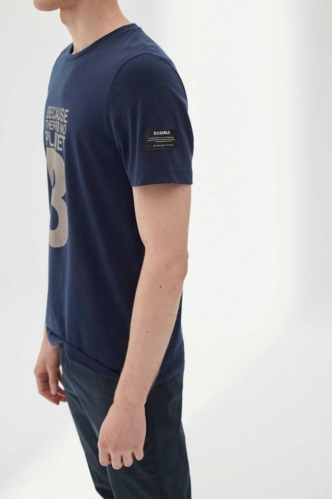 T-shirt imprimé bleu marine en polyester et coton recyclés - natal great b - Ecoalf num 1