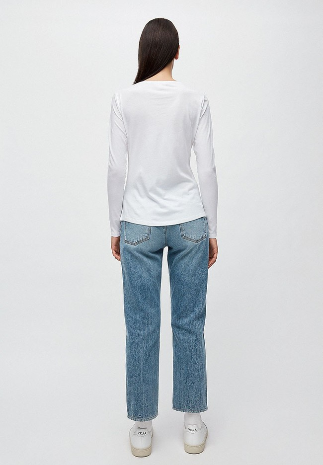 T-shirt manches longues blanc en coton bio - rojaa - Armedangels num 2