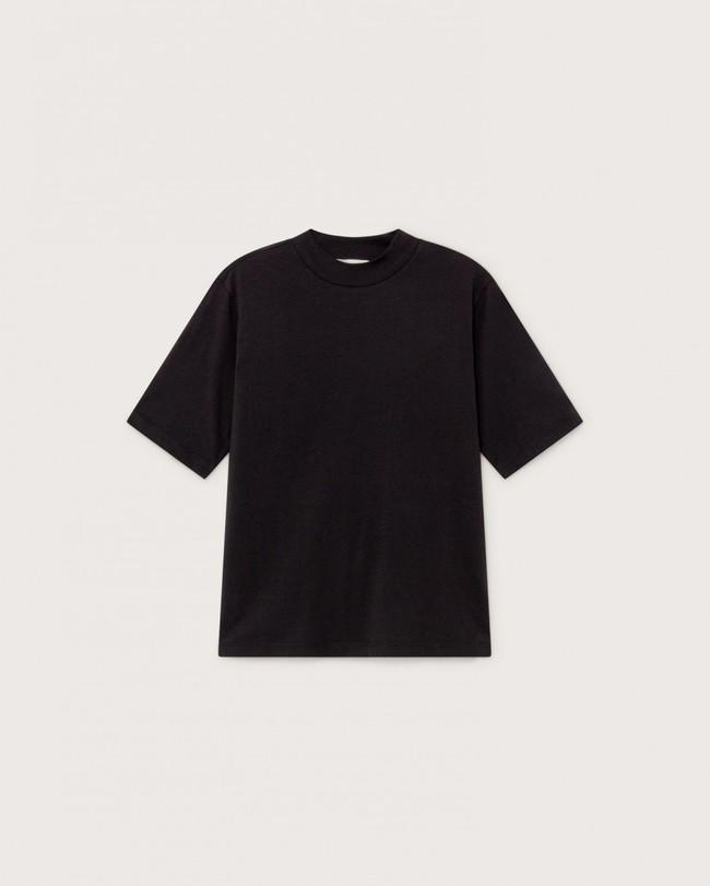 T-shirt manches 3/4 noir en chanvre et coton bio - aidin - Thinking Mu num 3
