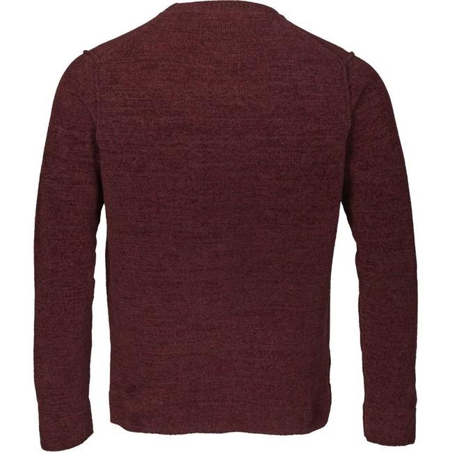 Pull bordeaux en coton bio - chenille o-neck - Knowledge Cotton Apparel num 1