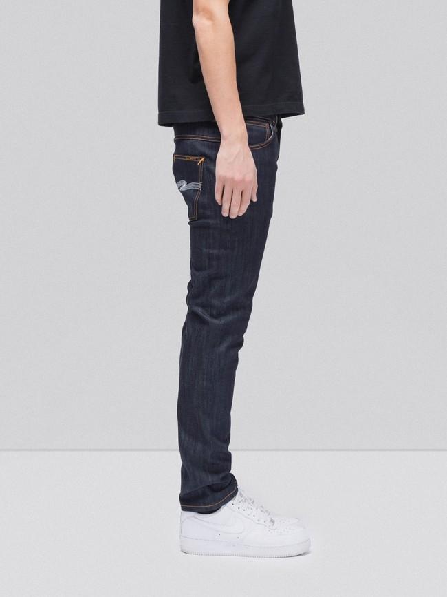 Jean slim brut en coton bio - thin finn dry ecru embo - Nudie Jeans num 2