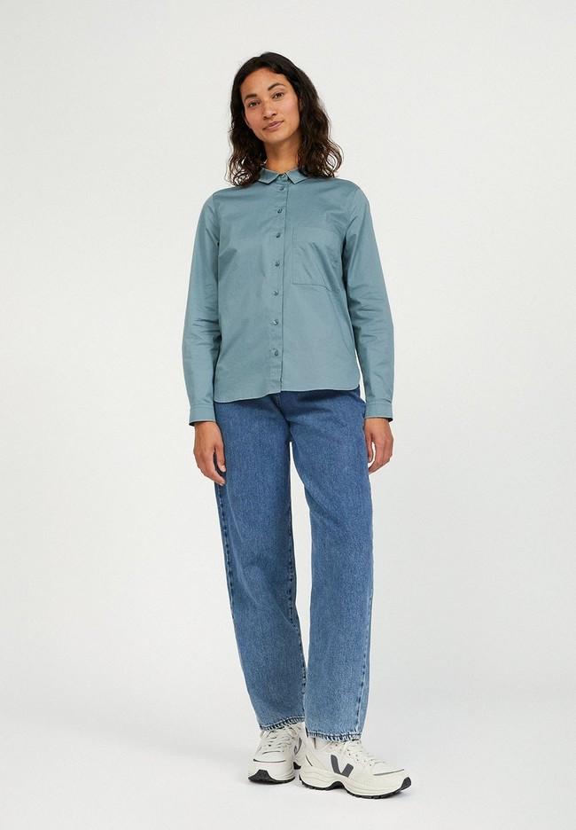 Chemise à manches longues bleue en coton bio - pernillaa - Armedangels num 1