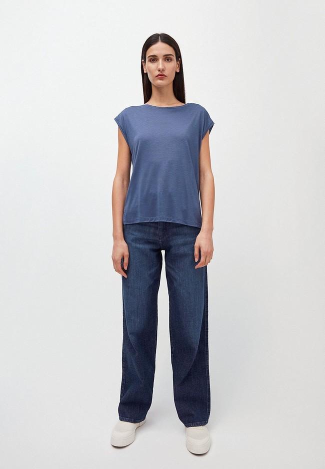 T-shirt bleu indigo en tencel - jilaa - Armedangels num 3