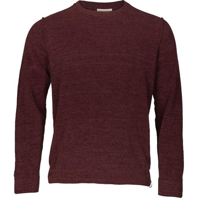 Pull bordeaux en coton bio - chenille o-neck - Knowledge Cotton Apparel