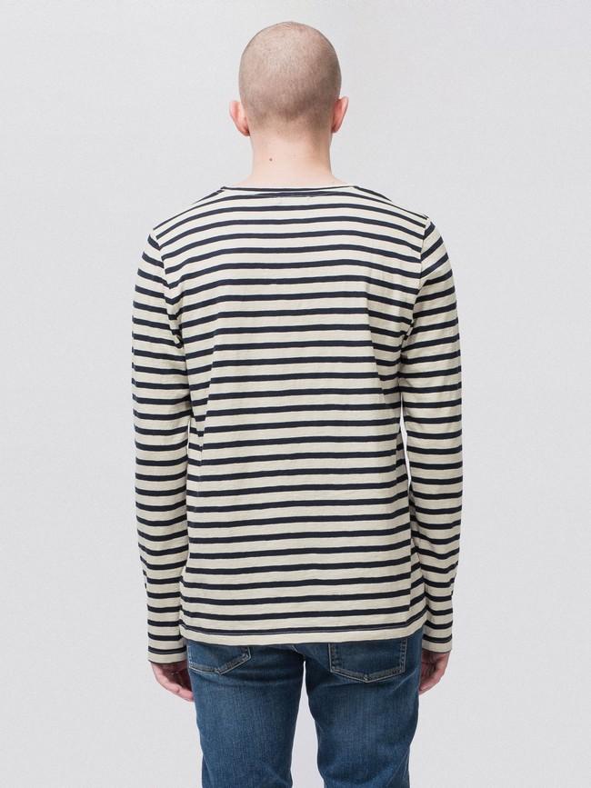 T-shirt manches longues rayé en coton bio - orvar - Nudie Jeans num 1