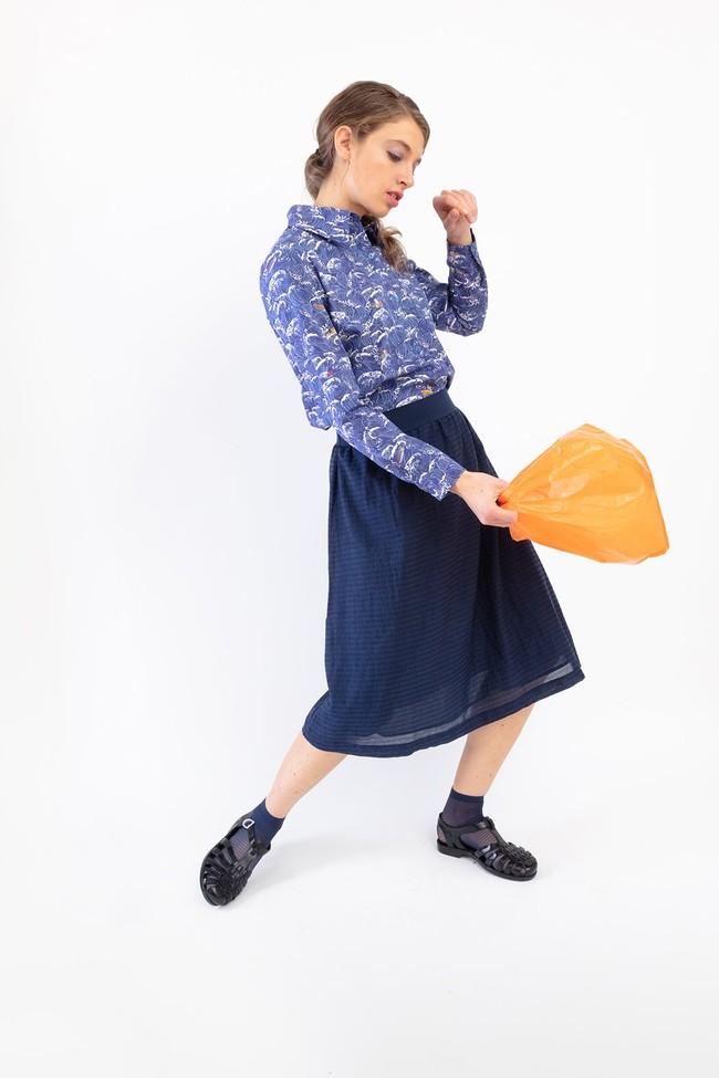 "Chemise ""cool"" motif méditerranée - Bleu Tango"