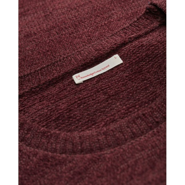 Pull bordeaux en coton bio - chenille o-neck - Knowledge Cotton Apparel num 2