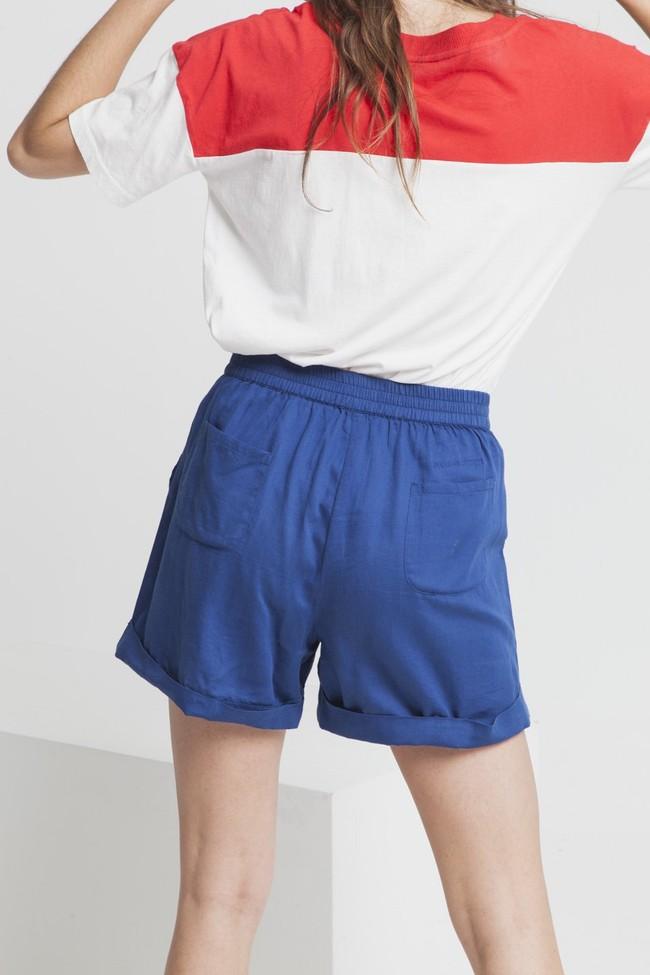 Short uni bleu en coton bio - mamma - Thinking Mu num 1