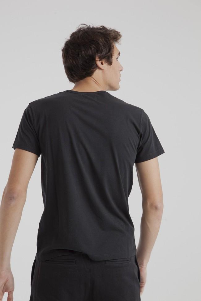 T-shirt uni noir avec poche en coton bio - Thinking Mu num 2