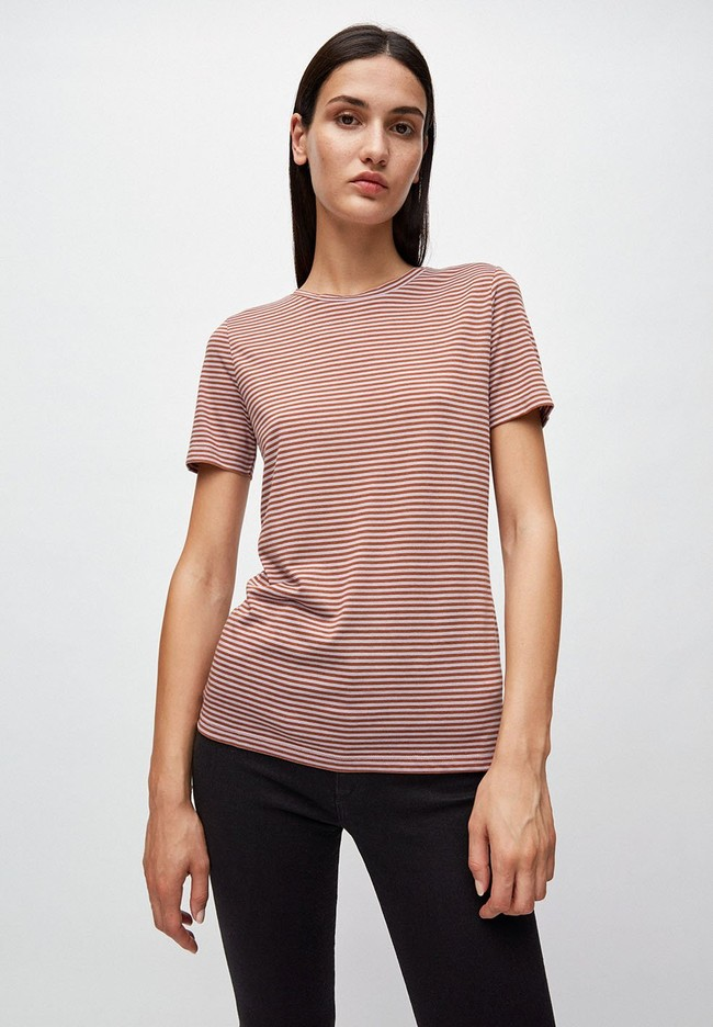 T-shirt rayures lila et marron en coton bio - lidaa - Armedangels