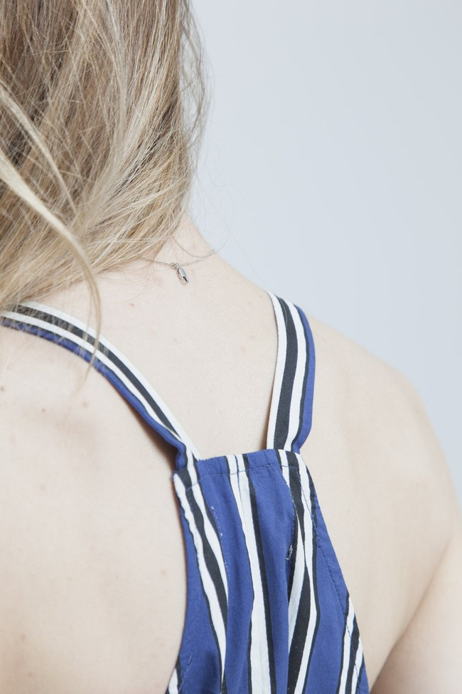 Combishort rayée bleue en coton bio - lilly - Thinking Mu num 4