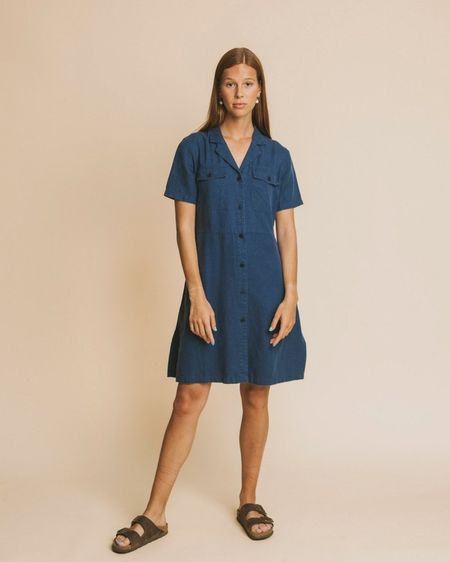 Robe bleu canard en chanvre, coton bio et tencel - karen - Thinking Mu