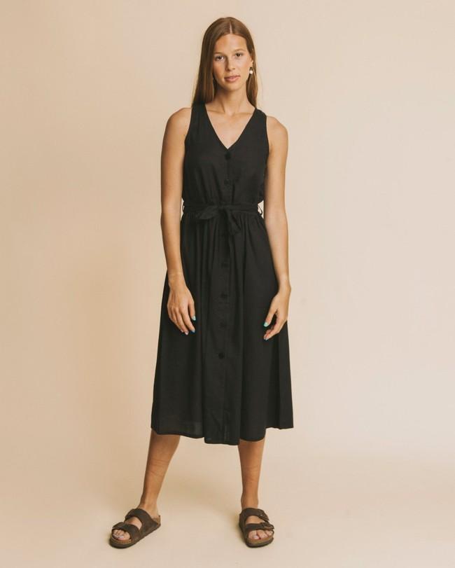 Robe midi noire en coton bio - black jolie - Thinking Mu