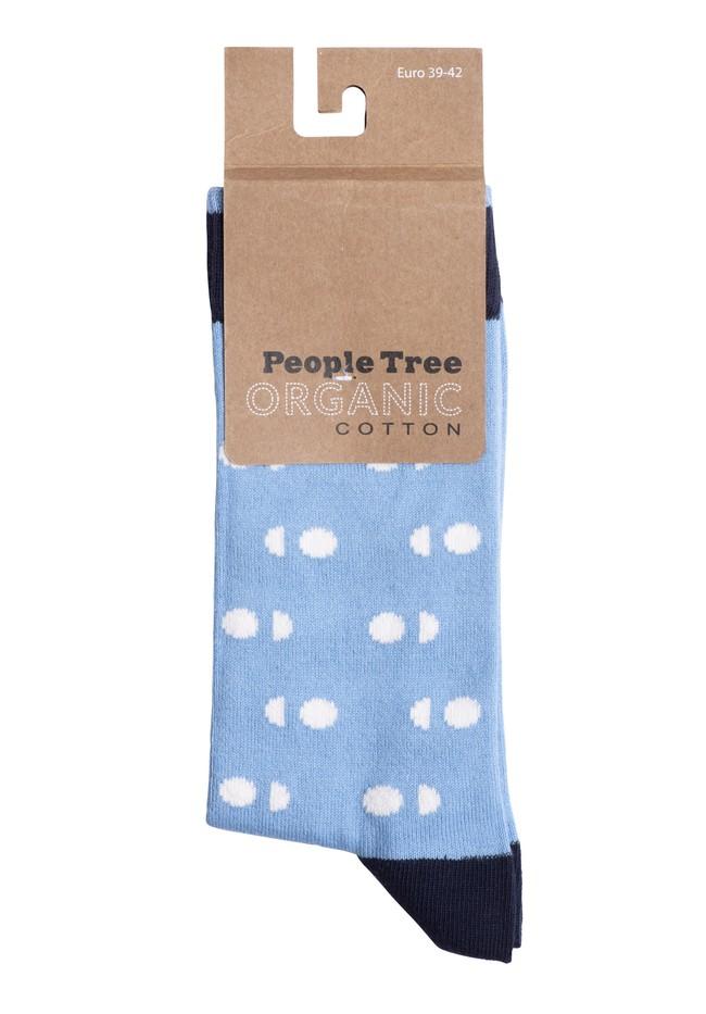 Chaussettes hautes bleues à pois en coton bio - People Tree