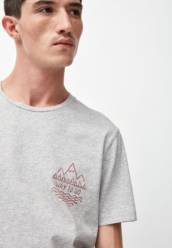 T-shirt gris en coton bio - jaames way to go - Armedangels num 1