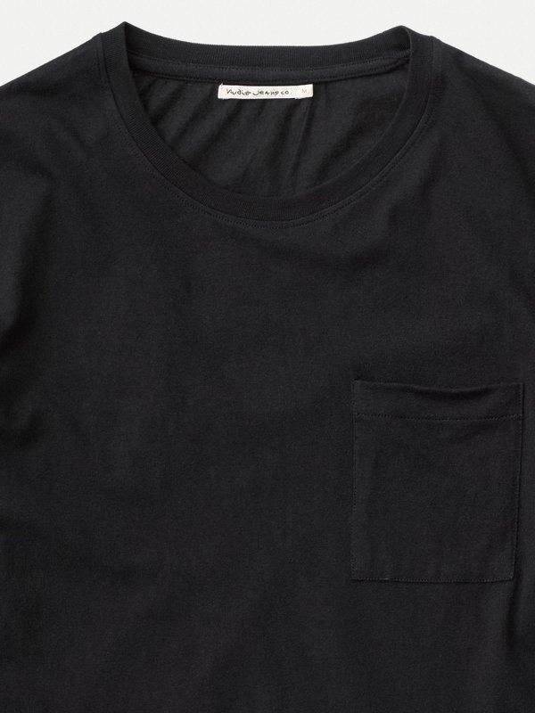 T-shirt manches longues à poche noir en coton bio - rudi - Nudie Jeans num 3