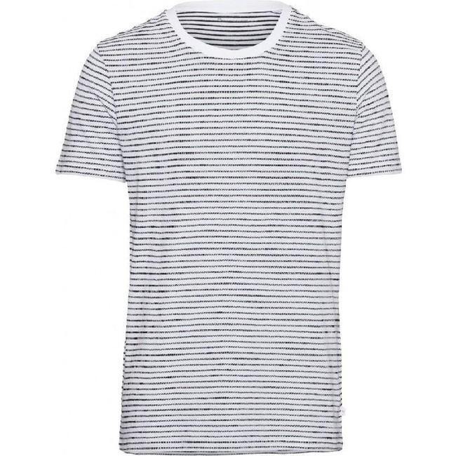 T-shirt rayé blanc en coton bio - alder - Knowledge Cotton Apparel
