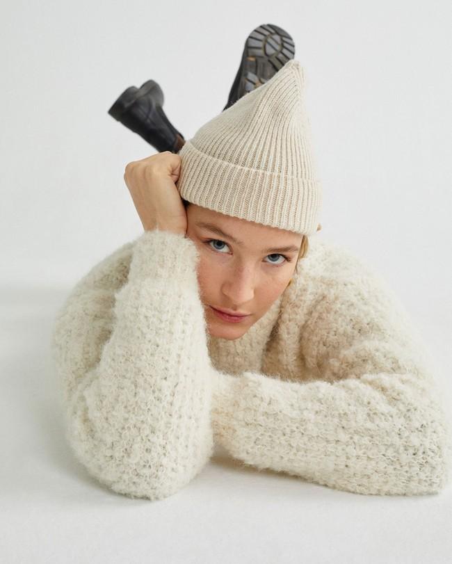 Pull à col cheminée blanc en laine d'alpaga et pet recyclé - cotys - Thinking Mu num 2