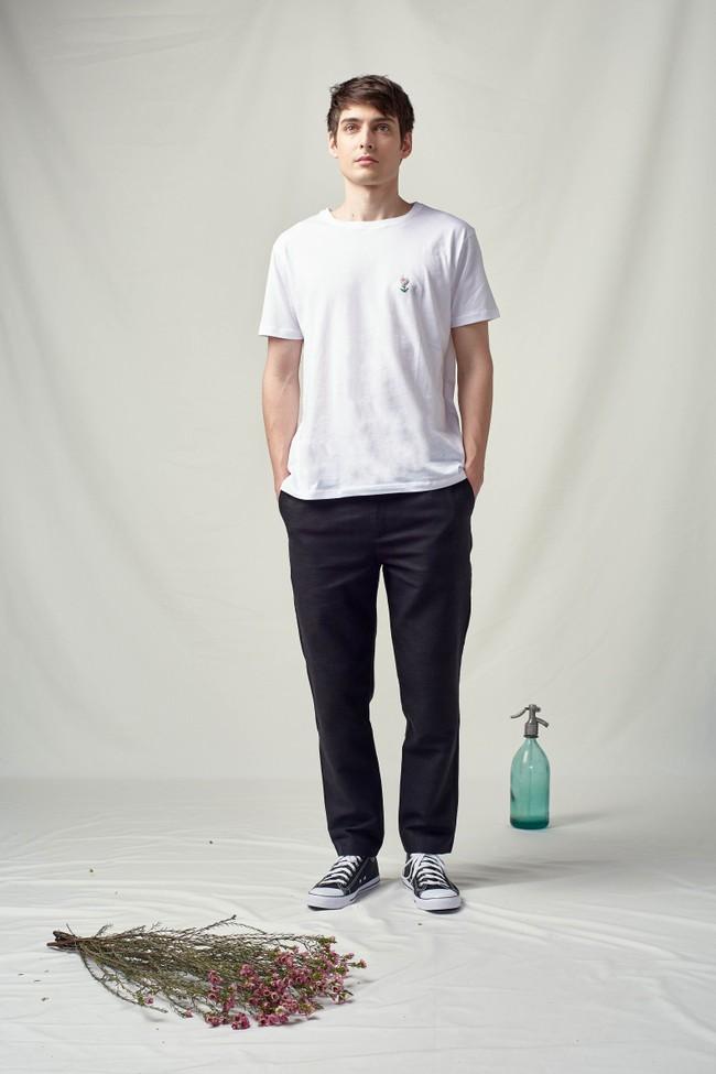 T-shirt coton bio broderie main flower - Noyoco num 2